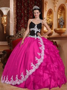 Hot Pink and Black V-neck Quinceanera Dress with Appliques and Ruffles