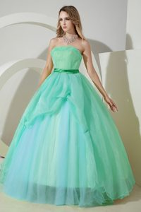 Blue Strapless Long Quinceanera Dress with Belt