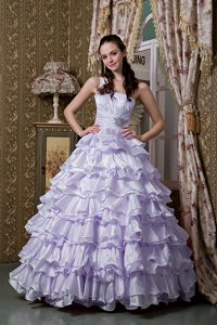 Special Lilac Single Shoulder Sweet 16 Dresses with Ruffles and Beading