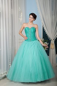 Simple Turquoise Sweetheart Dress for Quince with Beading and Ruching