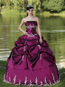 Custom Made Strapless Fuchsia Quince Dress with Appliques and Pick-up