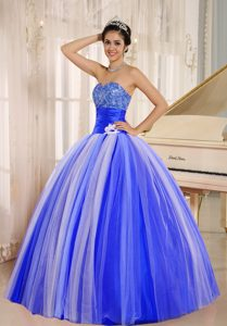 Blue and White Sweetheart New Arrival Quinceanera Gown with Ruching