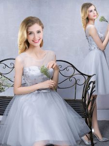Luxury Scoop Grey Sleeveless Knee Length Lace and Appliques and Belt Lace Up Dama Dress for Quinceanera