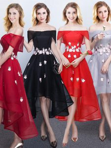 High Class Black and Red and Grey A-line Chiffon Off The Shoulder Sleeveless Appliques High Low Lace Up Court Dresses for Sweet 16