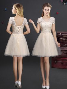 Top Selling Short Sleeves Lace Up Mini Length Lace and Appliques and Belt Damas Dress
