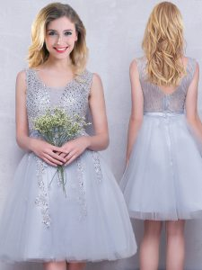 Scoop Mini Length A-line Sleeveless Grey Quinceanera Court of Honor Dress Zipper