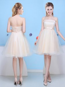 New Style Knee Length Champagne Dama Dress Tulle Sleeveless Bowknot
