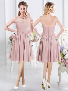 Sexy Scoop Knee Length Pink Damas Dress Chiffon Cap Sleeves Lace and Ruching