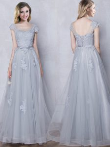 Dynamic Scoop Grey Cap Sleeves Floor Length Lace and Appliques and Belt Lace Up Vestidos de Damas