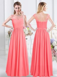 Scoop Watermelon Red Cap Sleeves Lace and Ruching Floor Length Damas Dress