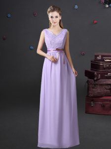 Glittering Lavender Chiffon Lace Up V-neck Sleeveless Floor Length Damas Dress Lace and Belt