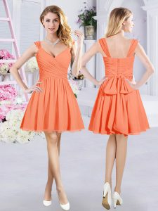 Glamorous Chiffon Straps Sleeveless Zipper Ruching and Belt Damas Dress in Orange