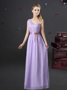 Enchanting One Shoulder Sleeveless Chiffon Floor Length Lace Up Dama Dress for Quinceanera in Lavender with Lace and Appliques and Belt