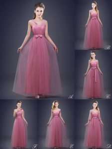 Stylish Pink Sleeveless Beading and Appliques and Ruching and Bowknot and Hand Made Flower Floor Length Damas Dress