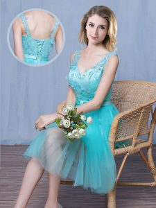 Spectacular Aqua Blue Empire Lace and Appliques and Bowknot Dama Dress Lace Up Tulle Sleeveless Knee Length