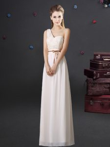 Edgy White One Shoulder Lace Up Lace and Appliques and Belt Quinceanera Court of Honor Dress Sleeveless