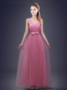 Best Straps Sleeveless Tulle Dama Dress for Quinceanera Ruching and Bowknot Lace Up
