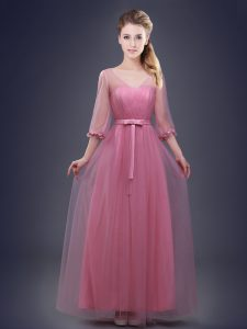 Eye-catching Pink Lace Up V-neck Ruching and Bowknot Dama Dress Tulle Half Sleeves