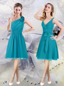 Dynamic One Shoulder Sleeveless Vestidos de Damas Knee Length Ruffles and Ruching and Belt Teal Chiffon