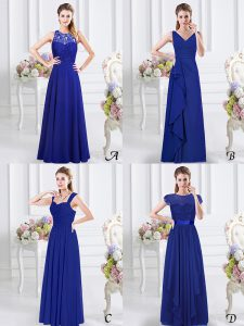 Romantic V-neck Sleeveless Vestidos de Damas Floor Length Lace and Ruffles and Ruching Royal Blue Chiffon