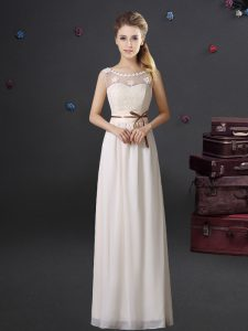 Charming Scoop See Through Floor Length White Dama Dress for Quinceanera Chiffon Sleeveless Lace and Appliques and Belt