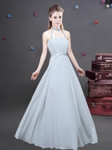 Artistic Grey Empire Halter Top Sleeveless Chiffon Floor Length Zipper Ruching Quinceanera Court of Honor Dress