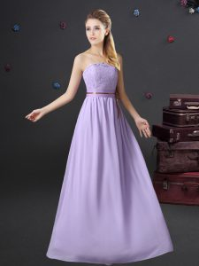 Floor Length Lavender Quinceanera Dama Dress Strapless Sleeveless Lace Up