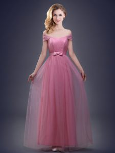Graceful Off the Shoulder Pink Lace Up Vestidos de Damas Ruching and Bowknot Sleeveless Floor Length