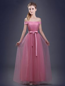 Graceful Floor Length Pink Quinceanera Court Dresses Off The Shoulder Sleeveless Lace Up