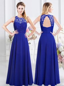 Royal Blue Backless Scoop Lace Quinceanera Court of Honor Dress Chiffon Sleeveless