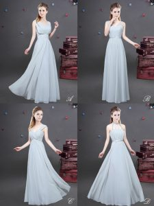Sweet Grey Sleeveless Ruching Floor Length Vestidos de Damas