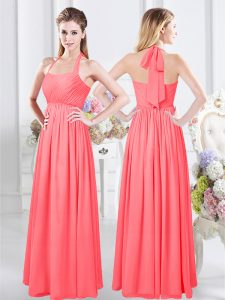 Delicate Halter Top Floor Length Zipper Dama Dress for Quinceanera Watermelon Red for Prom with Ruching