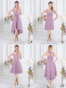 Discount Lavender Chiffon Zipper Halter Top Sleeveless High Low Quinceanera Dama Dress Ruching