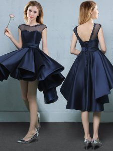 Dramatic A-line Dama Dress for Quinceanera Navy Blue Bateau Satin Cap Sleeves High Low Lace Up