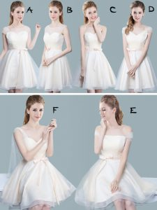 Champagne Quinceanera Court Dresses Prom and Party and Wedding Party with Ruching and Bowknot Straps Cap Sleeves Zipper