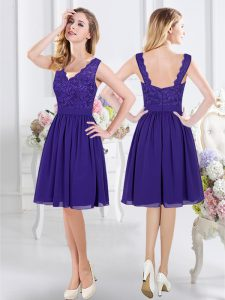 Wonderful Knee Length Empire Sleeveless Purple Quinceanera Dama Dress Zipper