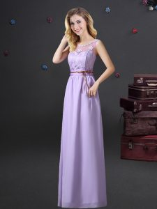 Pretty Scoop See Through Lavender Empire Lace and Appliques and Belt Vestidos de Damas Lace Up Chiffon Sleeveless Floor Length