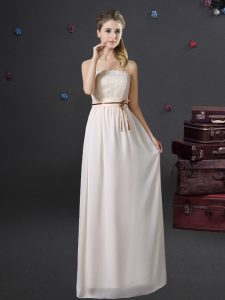 Pretty White Chiffon Lace Up Dama Dress Sleeveless Floor Length Lace and Belt