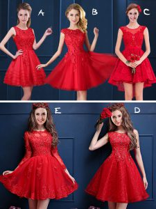 Scoop Red Sleeveless Lace and Appliques Mini Length Court Dresses for Sweet 16