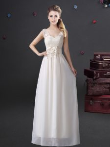 White Zipper Court Dresses for Sweet 16 Lace and Appliques and Bowknot Sleeveless Floor Length