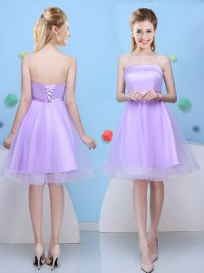 Lavender Strapless Neckline Bowknot Quinceanera Court Dresses Sleeveless Lace Up