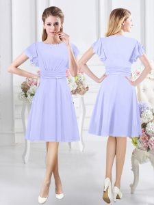 Scoop Ruching Dama Dress for Quinceanera Lavender Side Zipper Short Sleeves Knee Length