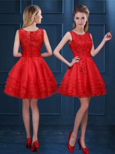 Scoop Mini Length Red Quinceanera Dama Dress Organza Sleeveless Lace and Ruffled Layers