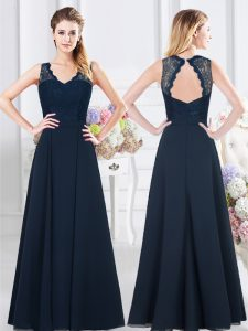 Luxurious Navy Blue Empire V-neck Sleeveless Chiffon Floor Length Backless Lace and Ruching Dama Dress for Quinceanera
