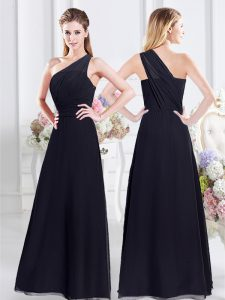 One Shoulder Chiffon Sleeveless Floor Length Dama Dress and Ruching