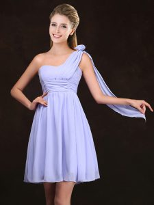 Vintage Lavender One Shoulder Neckline Ruching and Hand Made Flower Quinceanera Court of Honor Dress Sleeveless Zipper
