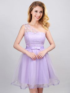 One Shoulder Lavender Lace Up Quinceanera Court of Honor Dress Lace and Appliques and Belt Sleeveless Mini Length