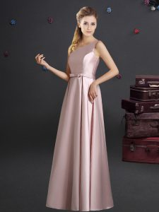 Fantastic One Shoulder Elastic Woven Satin Sleeveless Floor Length Court Dresses for Sweet 16 and Bowknot
