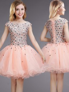 Cap Sleeves Beading and Sequins Lace Up Damas Dress