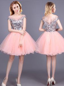 Superior Short Sleeves Tulle Mini Length Zipper Damas Dress in Pink with Sequins